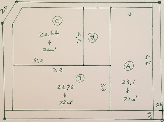 アパートのボリューム図面