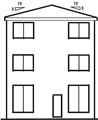 寄棟屋根の立面図